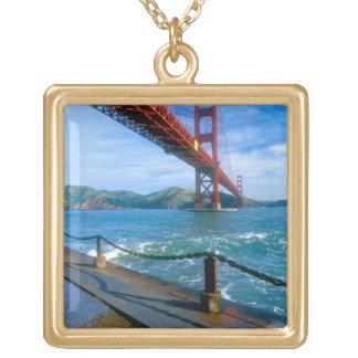 Golden Gate bridge and San Francisco Bay 2 Square Pendant Necklace