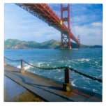 Golden Gate bridge and San Francisco Bay 2 Large Square Tile