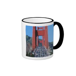 Golden Gate bridge and San Francisco Bay Ringer Coffee Mug