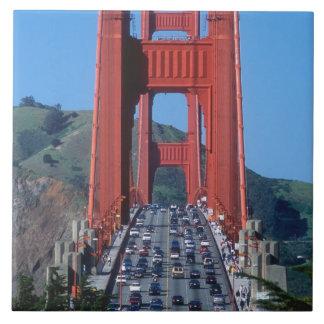 Golden Gate bridge and San Francisco Bay Large Square Tile