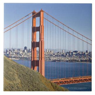 Golden Gate Bridge and San Francisco. Large Square Tile