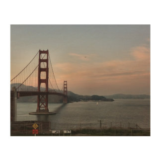 Golden Gate Bridge At Dusk Wood Wall Art