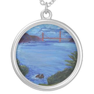 Golden Gate Bridge at Lincoln Park Round Pendant Necklace