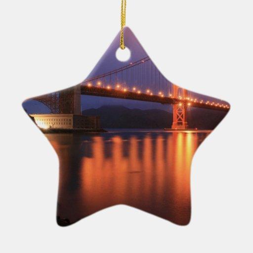 Golden Gate Bridge at Night Christmas Ornament