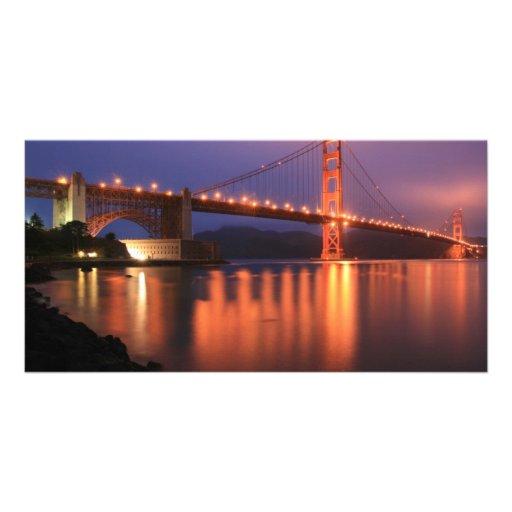 Golden Gate Bridge at Night Custom Photo Card