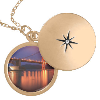 Golden Gate Bridge at Night Gold Plated Necklace