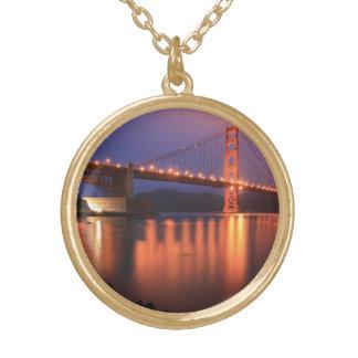 Golden Gate Bridge at Night Round Pendant Necklace