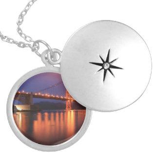 Golden Gate Bridge at Night Round Locket Necklace