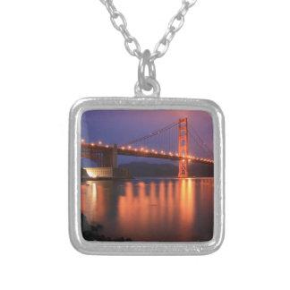 Golden Gate Bridge at Night Square Pendant Necklace