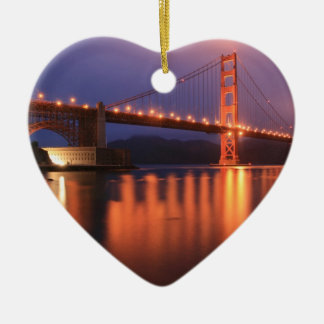 Golden Gate Bridge at Night Christmas Tree Ornaments