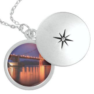 Golden Gate Bridge at Night Sterling Silver Necklace