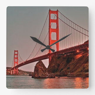 Golden Gate Bridge at Sun Down Square Wall Clock