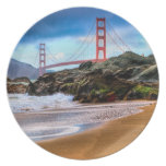 Golden Gate Bridge at sunset Party Plate