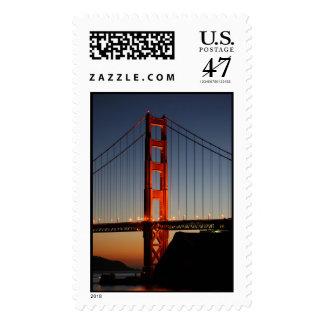 Golden Gate Bridge at Sunset Postage Stamp