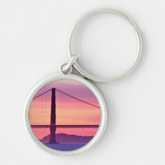 Golden Gate Bridge at Sunset Silver-Colored Round Keychain
