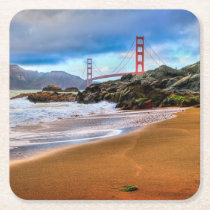 Golden Gate Bridge at sunset Square Paper Coaster