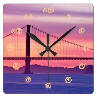 Golden Gate Bridge at Sunset Square Wall Clock