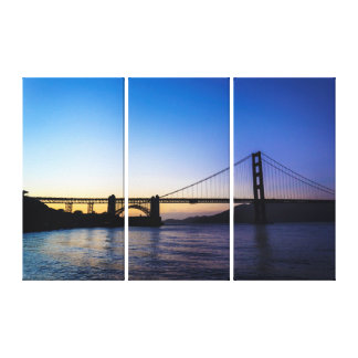 Golden Gate Bridge at Sunset Triptych Wall Art Stretched Canvas Print