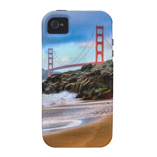 Golden Gate Bridge at sunset Vibe iPhone 4 Cases