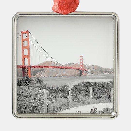 Golden Gate Bridge b&w with color pop Metal Ornament