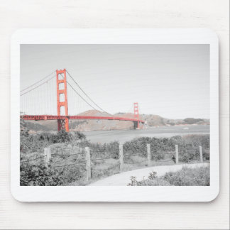 Golden Gate Bridge b&w with color pop Mouse Pad