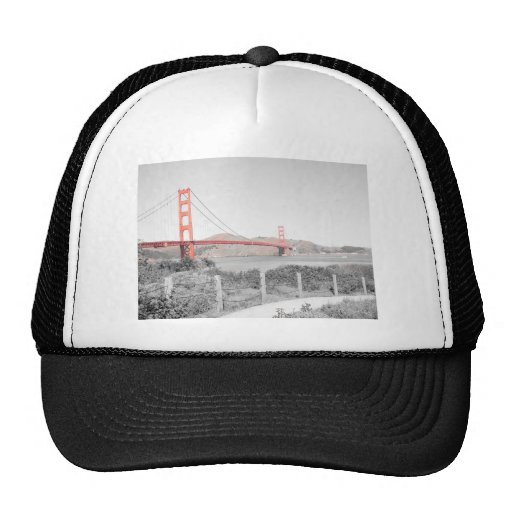 Golden Gate Bridge b&w with color pop Trucker Hat