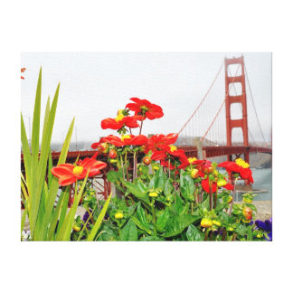 Golden Gate Bridge behind flowers Stretched Canvas Print
