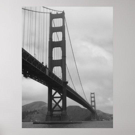 Golden Gate Bridge (Black and White) Poster