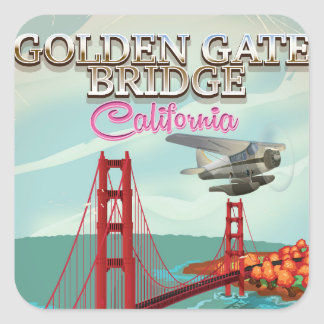 Golden Gate Bridge California travel cartoon Square Sticker