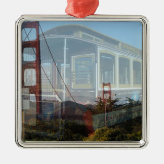 Golden Gate Bridge collage with cablecar 2.jpg Metal Ornament