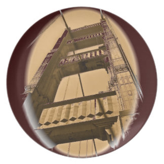 GOLDEN GATE BRIDGE DETAIL, SAN FRANCISCO MELAMINE PLATE
