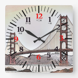Golden Gate Bridge - English and Chinese Numerals Square Wall Clock