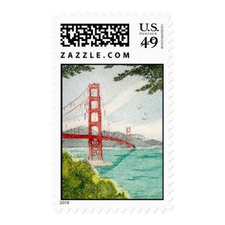 Golden Gate Bridge, Etching by Elizabeth Kavaler Postage Stamps
