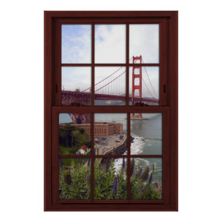 Golden Gate Bridge Faux Cherry Wood Window Poster