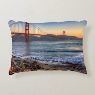 Golden Gate Bridge from San Francisco bay trail. Accent Pillow