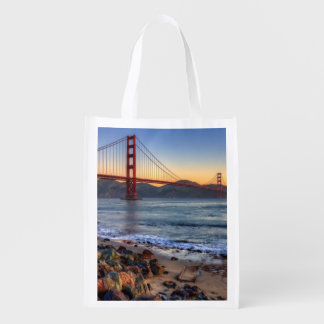 Golden Gate Bridge from San Francisco bay trail. Market Totes
