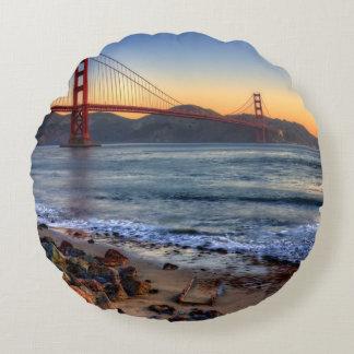 Golden Gate Bridge from San Francisco bay trail. Round Pillow