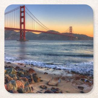 Golden Gate Bridge from San Francisco bay trail. Square Paper Coaster