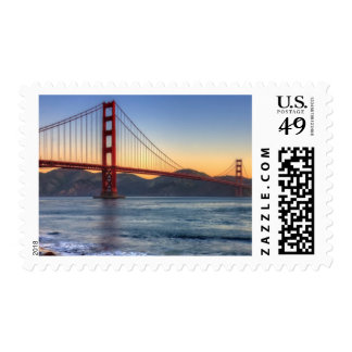 Golden Gate Bridge from San Francisco bay trail. Stamp
