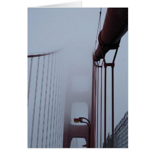 Golden Gate Bridge in fog Greeting Card