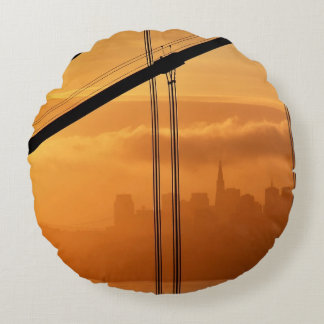 Golden Gate Bridge in front of the San Francisco Round Pillow