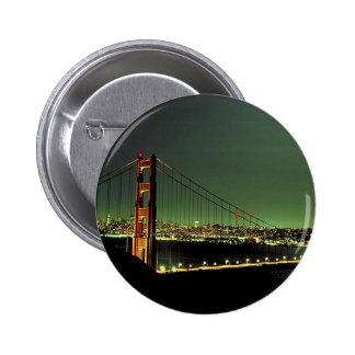 Golden Gate Bridge in Green Pinback Button