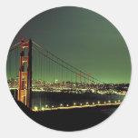 Golden Gate Bridge in Green Round Stickers
