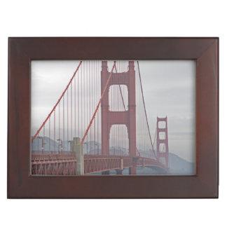 Golden gate bridge in mist. keepsake box
