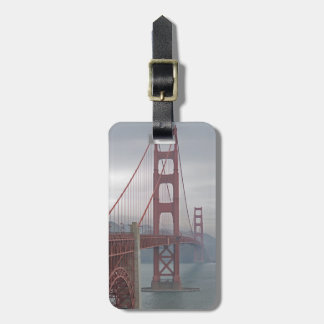 Golden gate bridge in mist. tag for bags