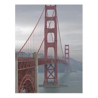 Golden gate bridge in mist. postcard