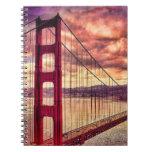 Golden Gate Bridge in San Francisco, California. Note Books
