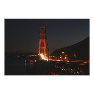 Golden Gate Bridge in the night Poster