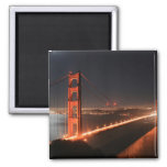 Golden Gate Bridge Lit Up at Night 2 Inch Square Magnet