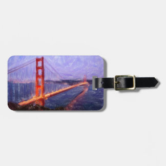 Golden Gate Bridge -- mixed media painting Bag Tag